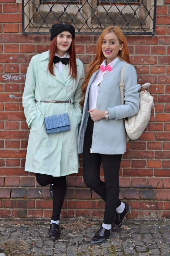 fashion, blog, blogger, moda, faimos, cunoscut, bershka, palton, famous, pastel, minty, papion sticla, vintage, oxford shoes, Peek & Cloppenburg , roots, butterfly bow tie, glass bow tie, unique, quilted backpack, pink