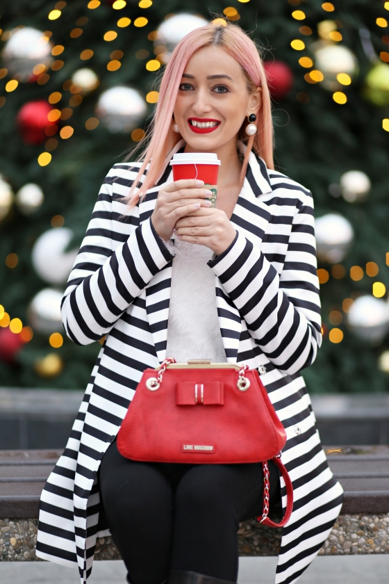 madalina misu, blog moda, blogger, fashion, clothes, signaturebymm, signature by m&m, striped coat, palton cu dungi, dungi toamna-iarna 2015 2016, red lipstick, ruj rosu sephora, cum purtam dungile, geanta love moschino, love moschino bag, romwe, striped coat romwe